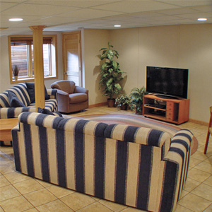A Finished Basement Living Room Area in Englewood, NJ